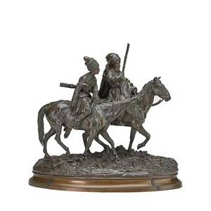 Evgeny alexandrovich lanceray russian 18481886 bronze sculpture of two cossacks on horseback 19th c signed in cyrillic stamped foundry mark 13 x 11 x 6 12