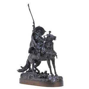 Evgeny alexandrovich lanceray russian 18481886 bronze sculpture of a cossack on horseback 1886 signed and dated in cyrillic 28 12 x 17 x 10
