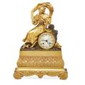 Continental dore bronze mantel clock woman in period dress silk thread suspension time and strike 19th c 17