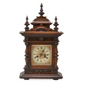 Junghans mantel clock mahogany case eight day time and strike movement early 20th c 22 12 x 12 58 x 7 38