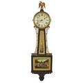 E howard banjo clock mahogany case the reverse painted panels depicting the battle of bunker hill 8 day time only weight driven early 20th c signed 39 x 10