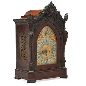Bailey banks  biddle bracket clock mahogany case time and strike movement ca 1900 22 34 x 13 34 x 10