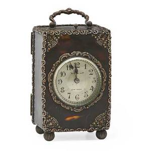 Tiffany  co tortoiseshell carriage clock silver handles with filigree mounts hour repeater movement early 20th c marked 5 14 x 3 14 x 2 34