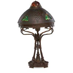 Austrian jeweled bronze table lamp art nouveau style with jewel encrusted shade early 20th c 19
