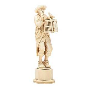 European ivory carving man with birdcage 19th c 6 12