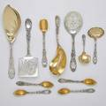 Tiffany  co chrysanthemum silver flatware tiffany  co chrysanthemum silver flatware and citrus spoons parcel gilt kidneyshaped ice cream server 11 34 kidneyshaped entree server 9 wa
