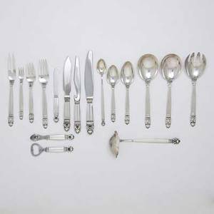 Georg jensen acorn silver flatware eight piece partial place setting for thirteen with extras 13 forks 7 12 13 forks 6 12 16 oyster forks 6 13 cream soup spoons 6 34 21 te