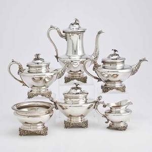 Philadelphia coin silver coffeetea service six round pieces with acanthus spouts and cast vegetal bases flower and leaf finials ivory insulators 18321848 coffee pot 11 34 two teapots 7 12