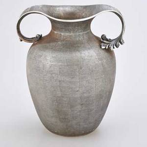 Mario buccellati telato engraved sterling vase amphora form with two leafy handles italy 20th c marked 12 537 ot