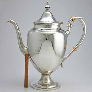 Immense gorham puritan silver coffee pot 32 precisely built to scale for promotional use this vessel was displayed in the office of the chairman of the board gorham deacesioned from the sample