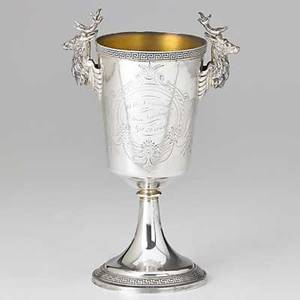 19th c american coin silver judaic interest tapered cylindrical goblet on trumpet foot with cast stag handles and greek key applied ribbons bright cut and inscribed a token of regard from the cong