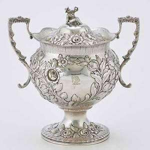 R  w wilson coin silver sugar bowl bulbous vessel with cast handles and figural chinese finial lush floral chasing above stippled ground philadelphia 18251846 8 12 2657 ot