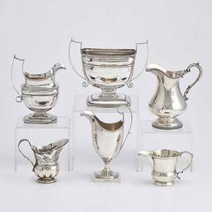 American silver holloware six pieces urnshaped coin silver cream pitcher and open sugar bowl john mcmullen philadelphia 18351841 taller 6 34 over handle small coin silver pitcher monogramm