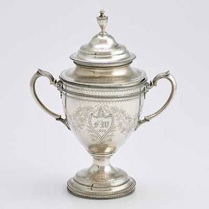George sharp coin silver covered trophy cup two handled urn form with applied bead bright cut neoclassical and grape vine decorations 1862 retailed by bailey  co monogram fw 10 34 2597 ot