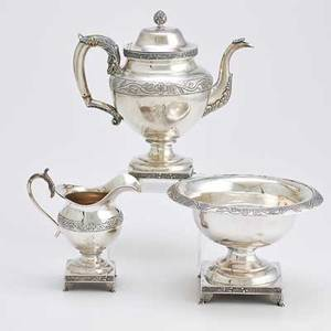 Philadelphia coin silver by john owens three pieces urnform coffee pot above square pedestal foot vegetable band acanthus handle and spout artichoke finial ivory insulators monogram r 9 14