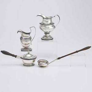 Philadelphia coin silver four pieces joseph anthony toddy ladle with turned wood handles 17891791 chaudrons  rasch cushionshaped cream pitcher with applied banding floral and acanthus 18091
