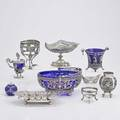Ornamental continental silver ten pieces renaissance style basket with cobalt glass liner hinged repousse sugar on stand two basket frames no liners cache pot with cobalt glass liner pierced g