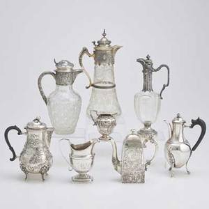 Silver and silver mounted jugs pots and pitchers eight pieces pearshaped and footed scenic rococo mocha pot by storck  sinsheimer hanau 8 38 tapered squareshaped mocha pot with incised and
