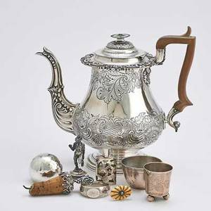 Silver coffee pot and miscellaneous items nine pieces silver coffee pot with wood handle floral decor thomas watson  co sheffield ca 1820 9 12 over handle silver bottle stopper with grape