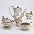 George iii silver coffee service four bulbous vessels with 12 linenfold reeding applied rococo flourishes scroll and paw bracket feet kettle on stand with burner 11 14 teapot 11 across han