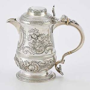 George iii silver pitcher by william cripps tankard form with rococo chasings london 1763 8 14 2877 ot