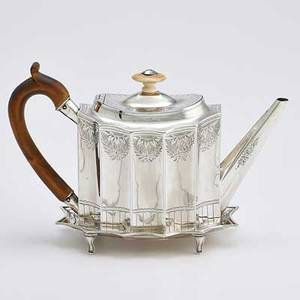 George iv silver teapot on stand oval with vertical flutes bright cut decoration ivory finial wood handle on conforming footed tray william stevenson london 1833 10 14 across handle likely