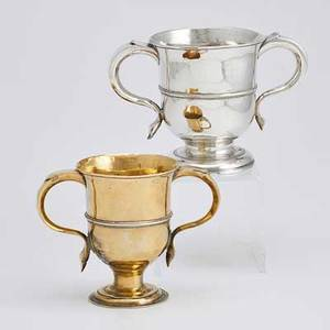 Two english sterling trophy cups 18th c banded on flared foot with ear handles thos cook and richard gurney london ca 1720 william cox london 1776 inscribed 18861936 5  258 ot