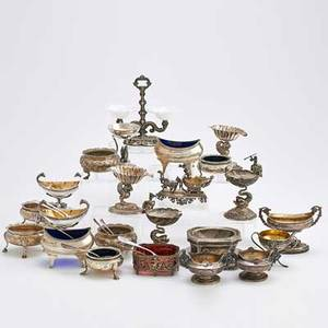 Silver salt cellers and salt spoons thirtytwo items total continental american and english in various assays figural standing salts include horse drawn chariot pair of st clair neoclassical