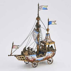Viennese enameled gilt silver nef in the form of a wheeled ship under sail inhabited by ten sailors enameled with painted polychrome mythological and romantic imagery late 19th c marked lp 9
