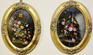 Pair of Oval Floral Still Life Paintings Signed