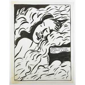 Raymond pettibon american b 1957 untitled having contrived for himself a hidingplace 1987 ink on paper framed signed and dated 24 x 18 sheet provenance private collection
