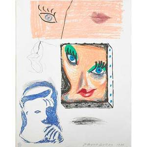 David hockney british b 1937 an image of celia study from moving focus series 1986 lithograph etching and aquatint in colors framed signed dated and numbered 5860 22 34 x 17 34 sh