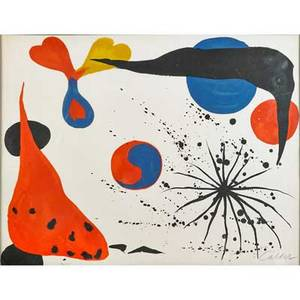 Alexander calder american 18981976 untitled yinyang lithograph in colors framed signed and numbered 92175 19 14 x 25 sight provenance private collection louisiana