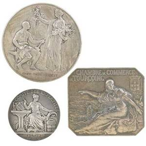 Silver art medals ten including french chambre de commerce de tourcoing chamber of commerce of boulognesurmer etc various assays of silver all marked largest 2 1242 ot gross weight