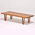 Edward wormley dunbar long john bench berne in 1940s sap walnut enameled metal label 12 x 48 x 19