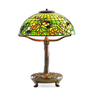 Tiffany studios fine table lamp pansy shade new york 1900s patinated bronze leaded slag glass three sockets base stamped tiffany studios new york shade with metal tag tiffany studios new yo