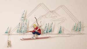 Curtis Jer Downhill Racer Metal Wall Sculpture