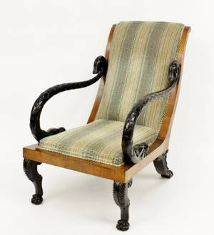 Upholstsered Armchair with Ebonized Swan Arms