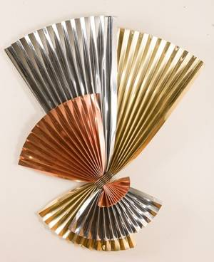 Curtis Jere Brass Chrome and Copper Bow Sculpture