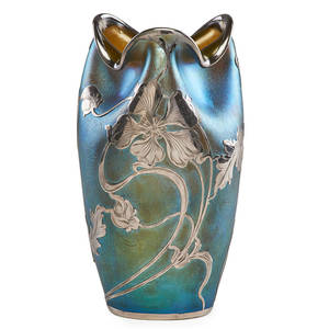 Loetz glass vase with silver overlay