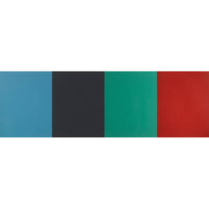 Ellsworth kelly american b 1923 blue gray green red 2008 lithograph in colors framed signed and numbered 1318 48 x 130 sheet publisher gemini gel los angeles provenance privat