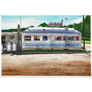 John baeder american b 1938 ellenville diner 1991 watercolor on paper framed 18 12 x 26 12 sight provenance ok harris gallery new york label on verso private collection new york