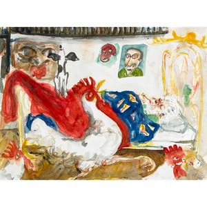 Sam messer american b 1955 untitled santa claus 1994 gouache on paper framed signed and dated 18 x 24 sheet provenance private collection florida