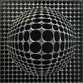 Victor vasarely frenchhungarian 19081997 vegamir from bach album 1973 paint and screenprint on glass and chromed metal framed signed from an unnumbered edition of 200 19 12 x 19 12