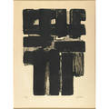 Pierre soulages french b 1919 eauforte intaglio framed signed and numbered 4465 30 x 22 12 sheet provenance private collection new york