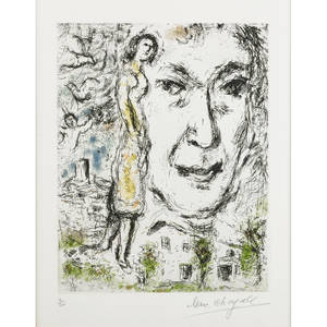 Marc chagall frenchrussian 18871985 autoportrait 1968 etching and aquatint in colors framed signed and number 450 12 x 9 plate 14 18 x 11 18 sight literature cramer 28 prove