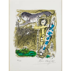 Marc chagall frenchrussian 18871985 le christ a lhorloge 1957 lithograph in colors on arches paper framed signed and numbered 7290 13 34 x 10 14 sight printer mourlot paris