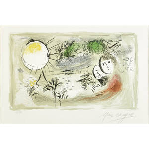 Marc chagall frenchrussian 18871985 le repos 1968 lithograph in colors on arches paper framed signed and numbered 4950 13 12 x 20 12 sight literature dap 555 mourlot 555 provena