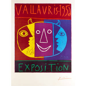 Pablo picasso spanish 18811973 vallauris 1956 exposition 1956 linocut in colors on arches paper framed signed from an edition of 200 39 14 x 25 78 sheet publisher association d