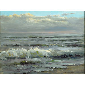 Robert waltsak american b 1944 jersey beach oil on canvas framed signed 18 x 24 provenance private collection new jersey